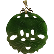 Vintage Chinese Jade Pendant Pierced and Carved