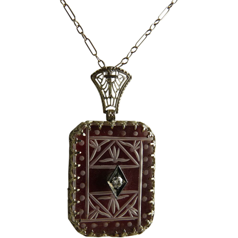 Vintage Art Deco Rock Crystal Carnelian Diamond 14K White Gold Filigree Pendant