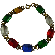 Vintage Art Deco Bracelet Open Back Faceted Glass Stones Multicolor