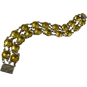Vintage Art Deco Citrine Glass Open Back Bracelet Double Strand