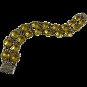 Vintage Art Deco Citrine Glass Open Back Bracelet Double Strand