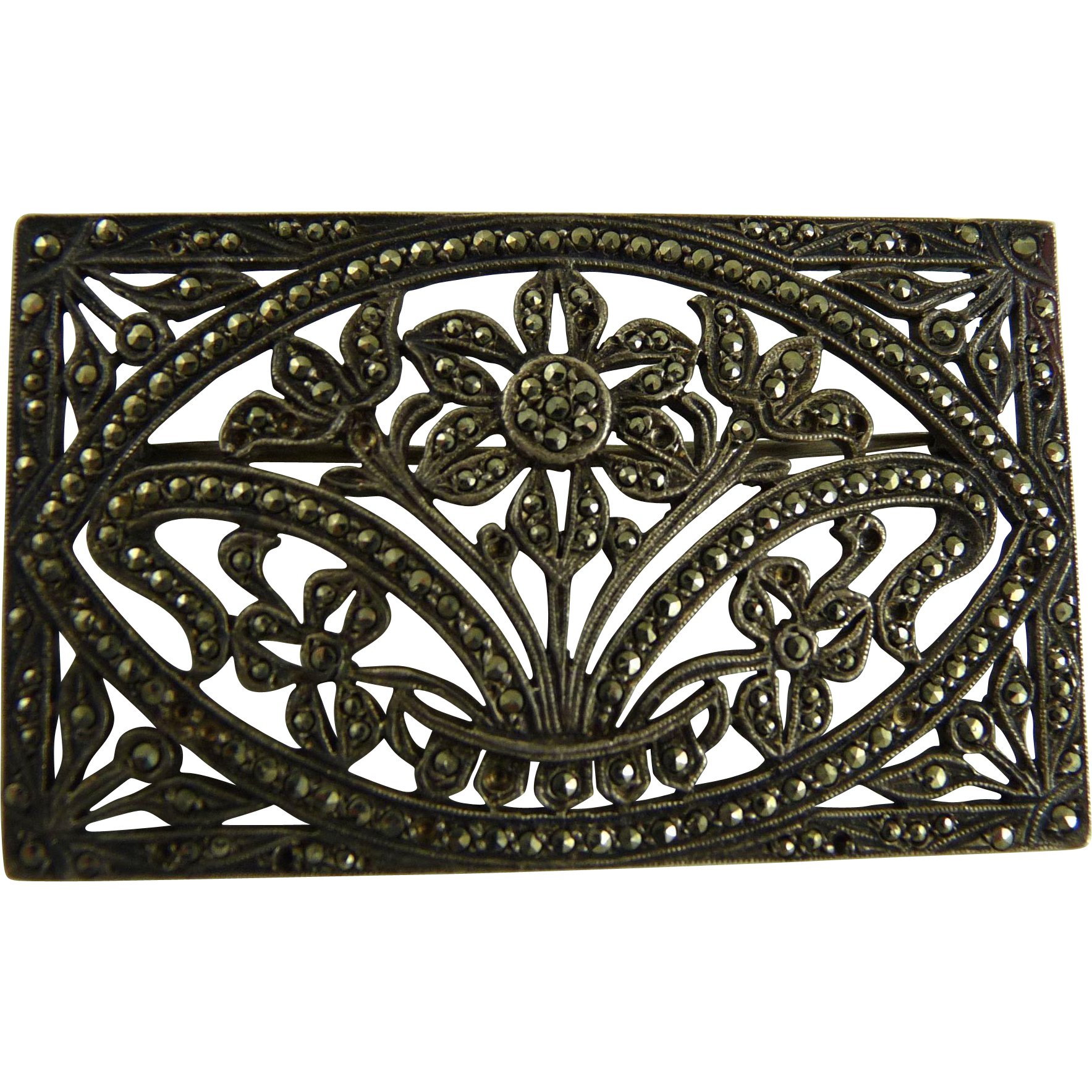 vintage art deco sterling marcasite brooch floral design. Black Bedroom Furniture Sets. Home Design Ideas