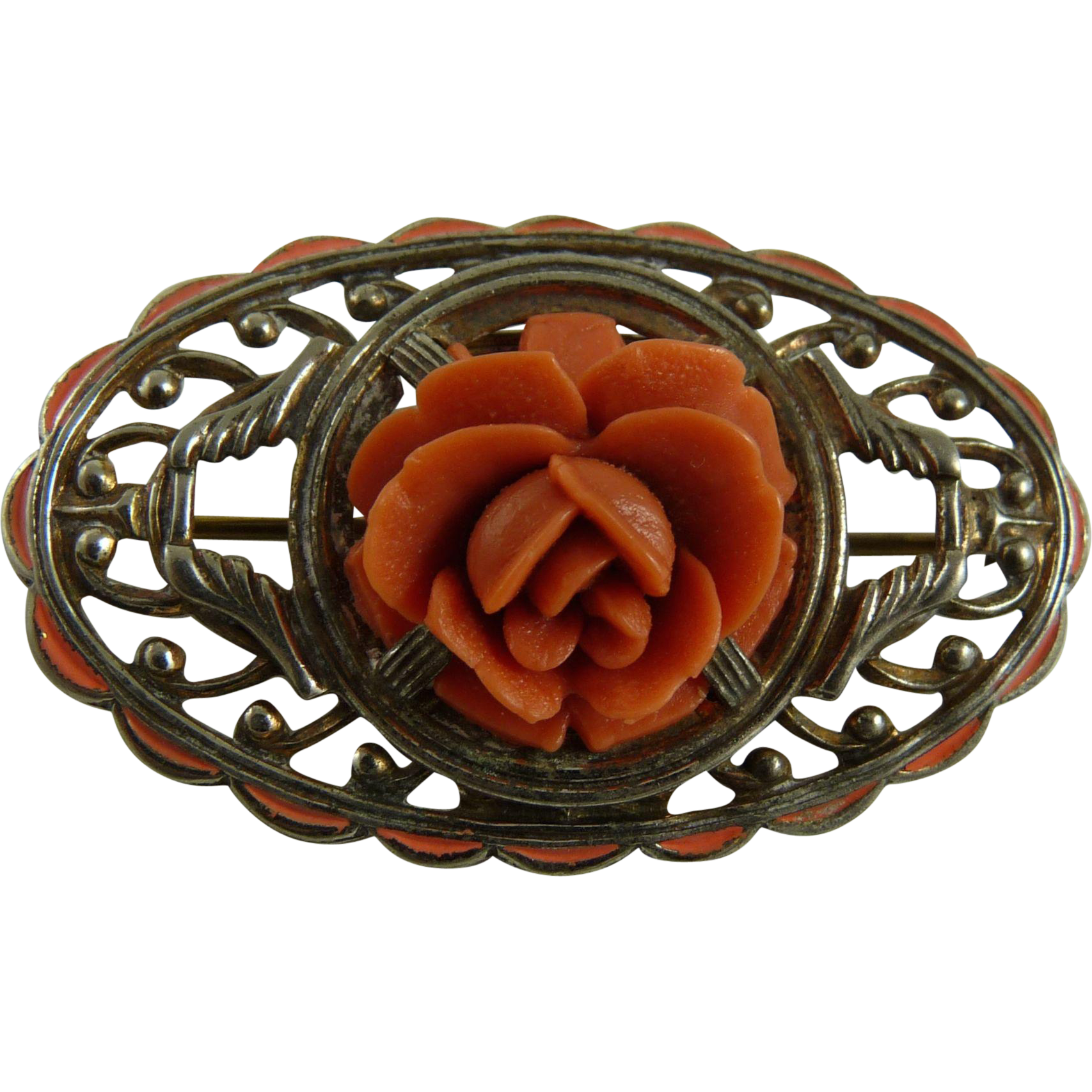 Vintage Sterling Enamel and Faux Coral Brooch