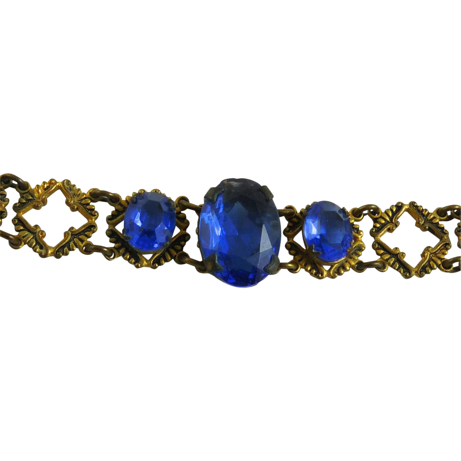 Vintage Art Deco Link Bracelet with Faceted Blue Glass Stones