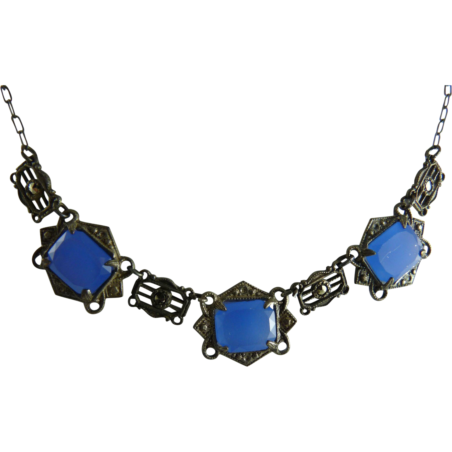 Vintage Art Deco Necklace with Blue Faux Chalcedony and Marcasites