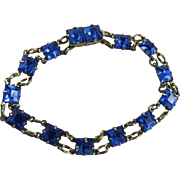 Vintage Sterling Silver Blue Glass Art Deco Bracelet