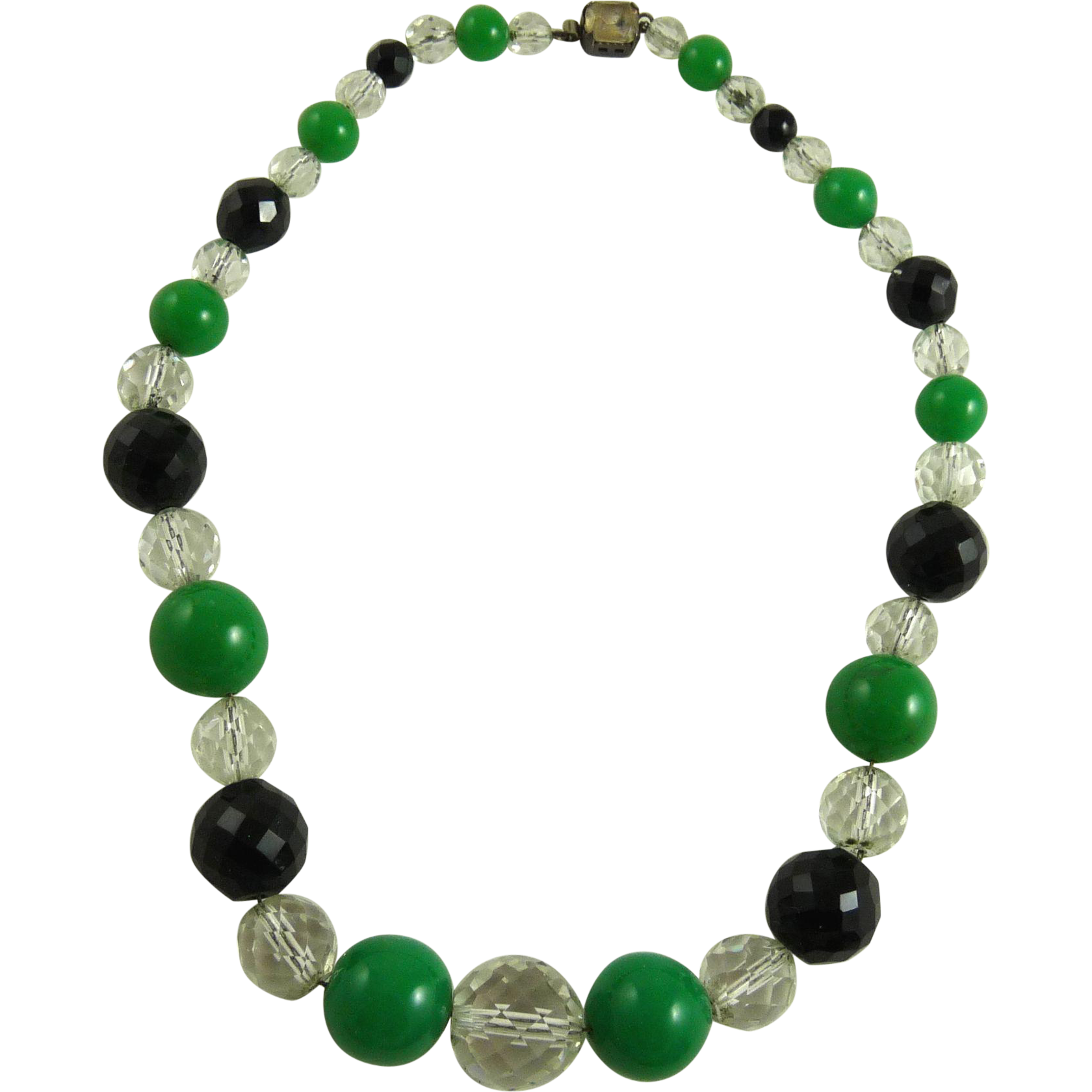 Vintage Art Deco Glass Bead Necklace