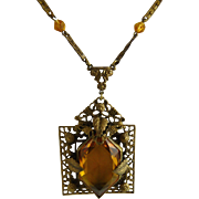 Vintage Art Deco Czech Glass Brass Filigree Pendant Necklace