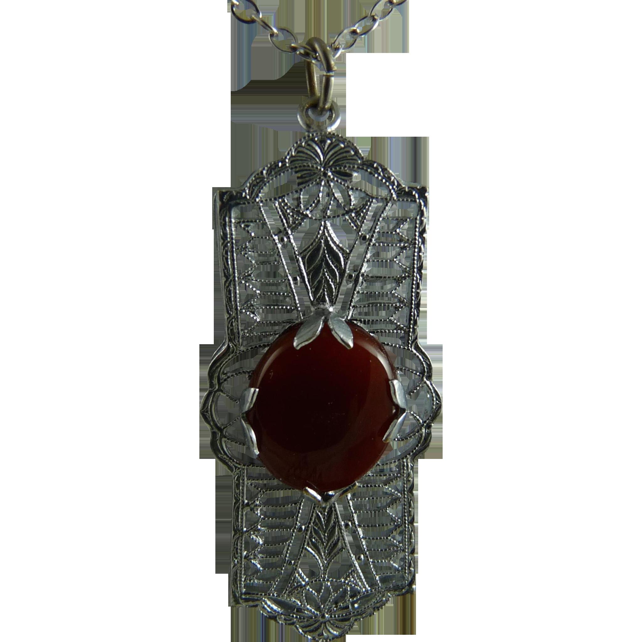 Vintage Art Deco Rhodium Filigree Pendant with Carnelian Stone