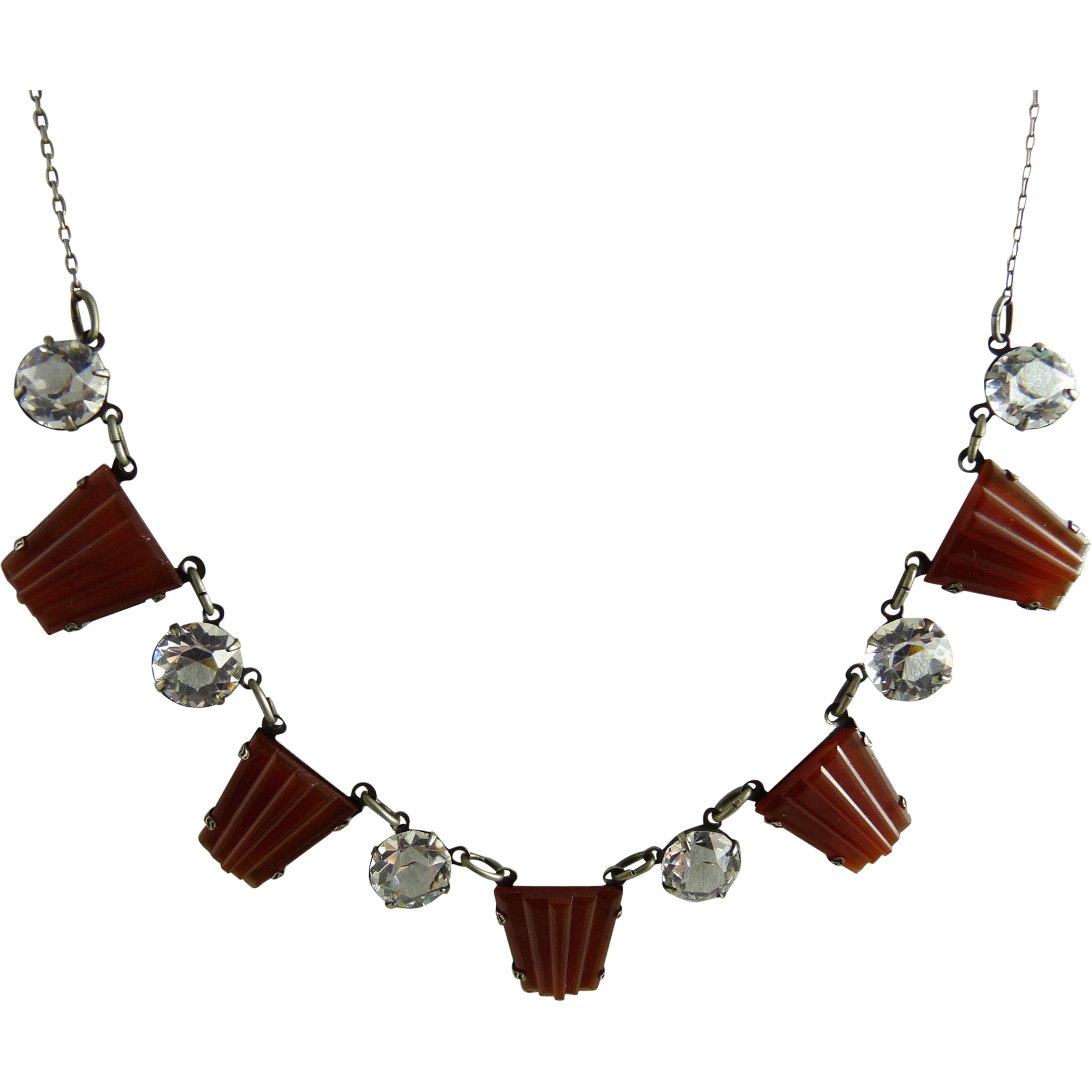 Vintage Art Deco Necklace with Open Back Crystals and Carnelian Glass Stones