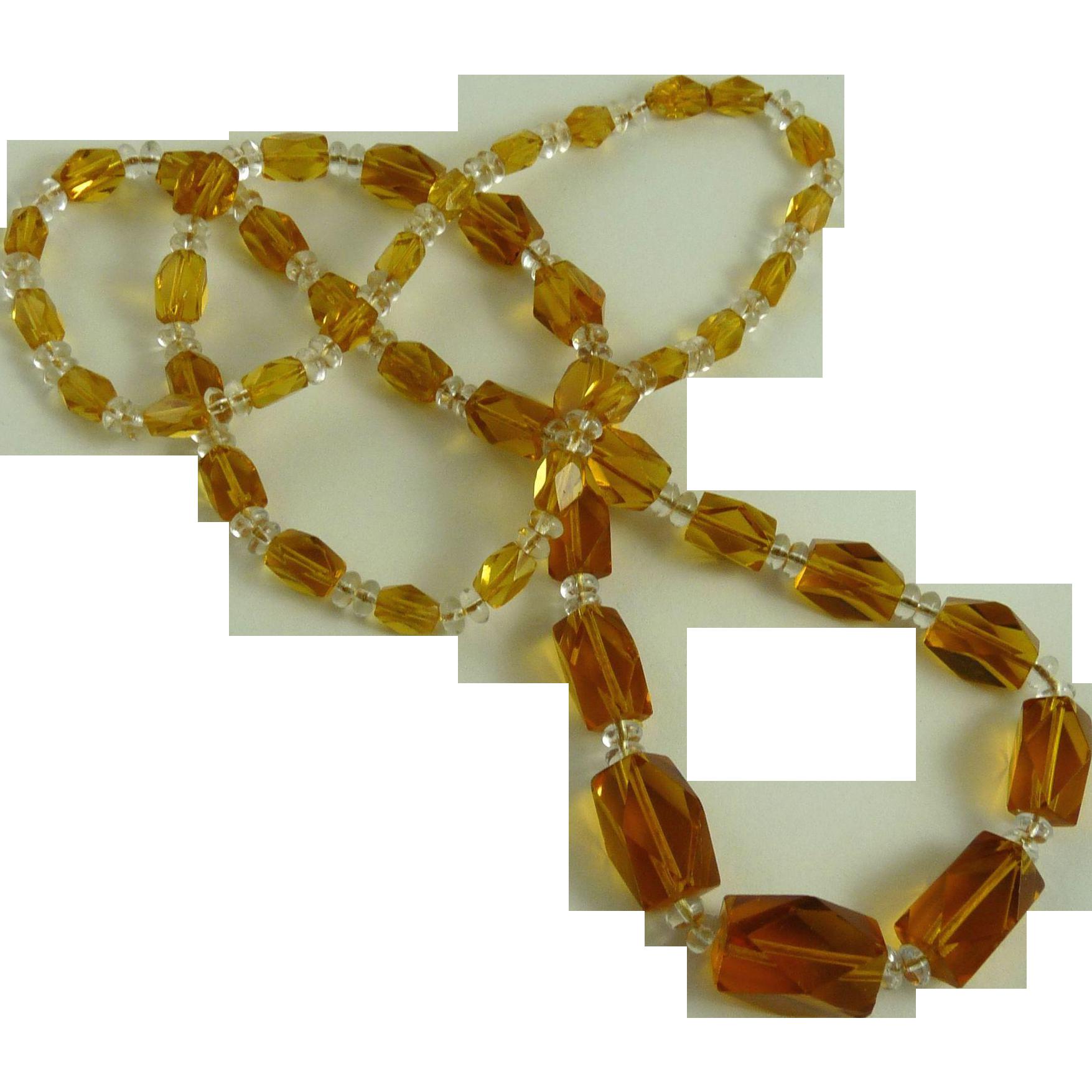 Vintage Art Deco Glass Bead Flapper Necklace