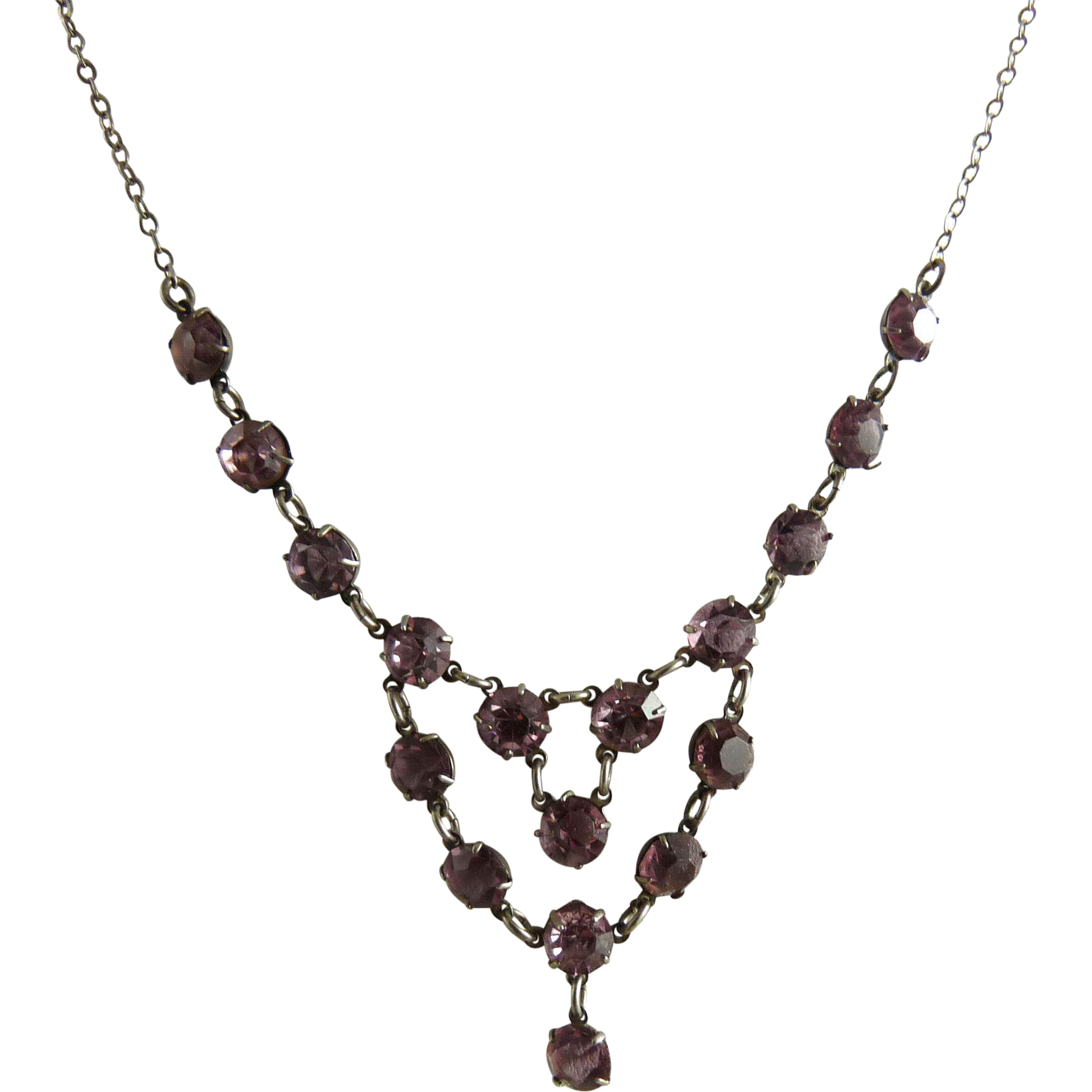 Vintage Art Deco Festoon Necklace Amethyst Glass