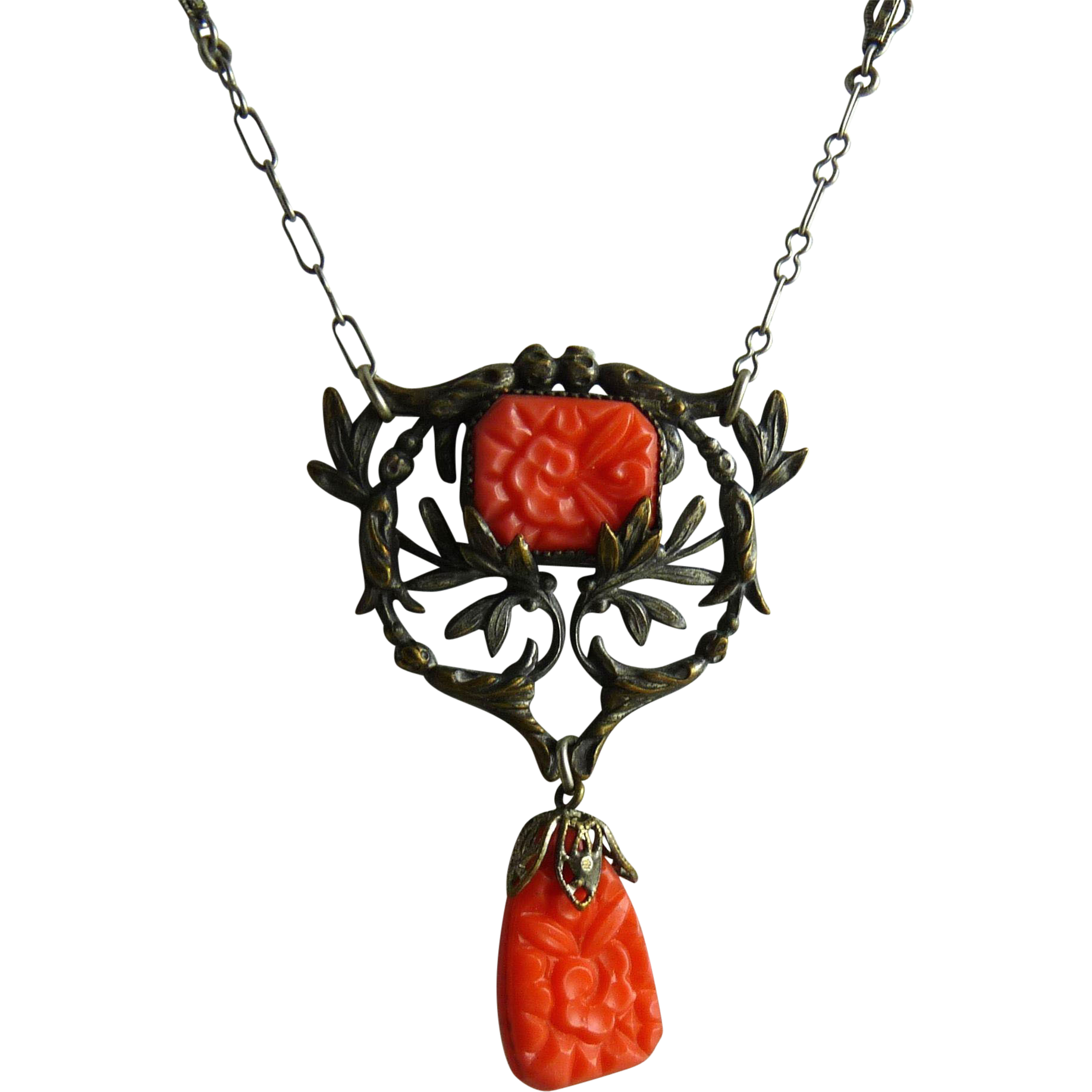 Art Nouveau Necklace Filigree and Pressed Glass