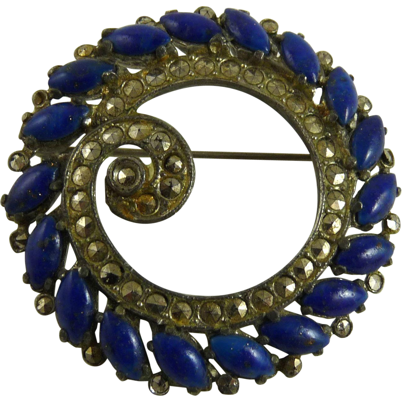 Vintage Potmetal Marcasite and Faux Lapis Circle Pin