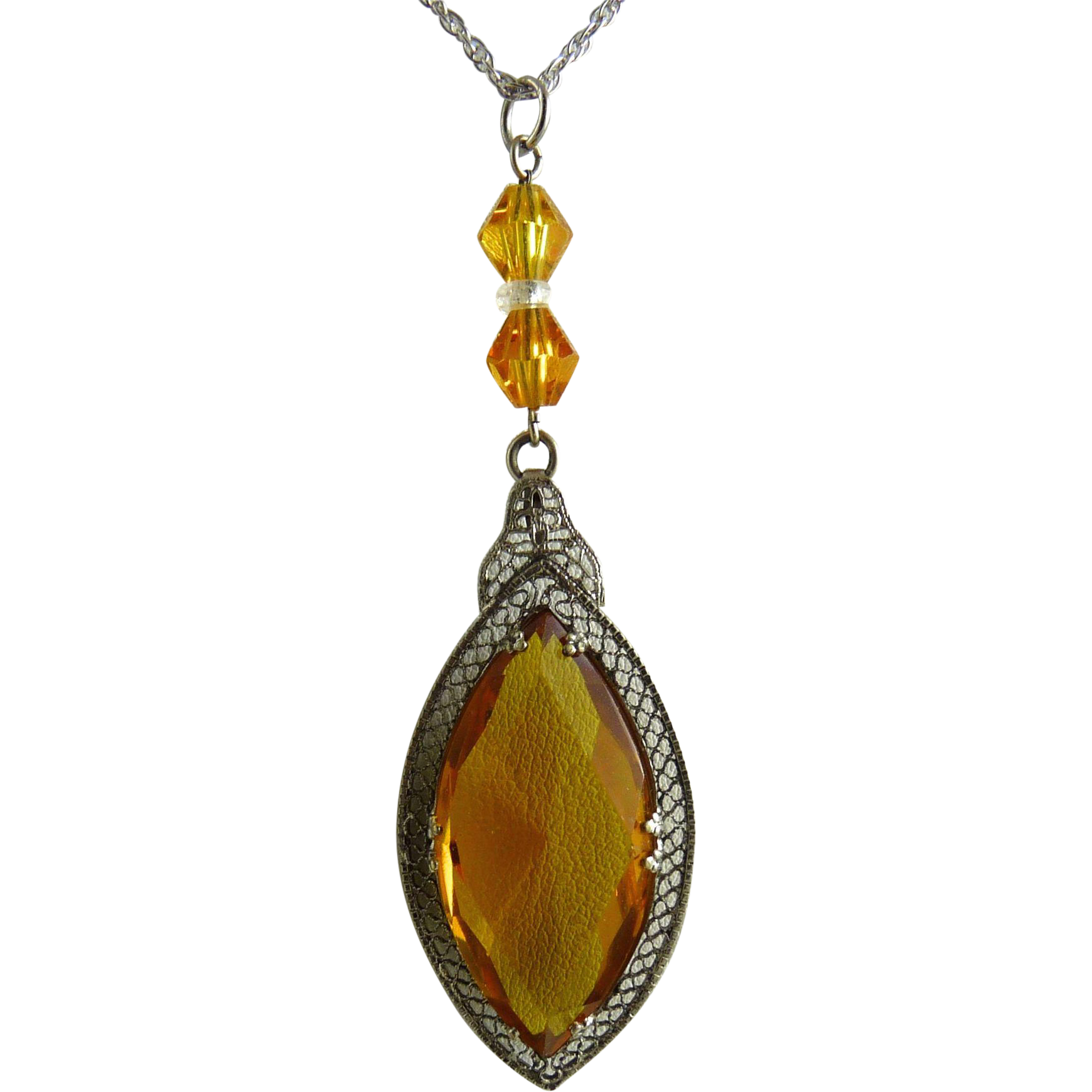 Vintage Art Deco Rhodium Filigree Pendant with Amber Glass Stone