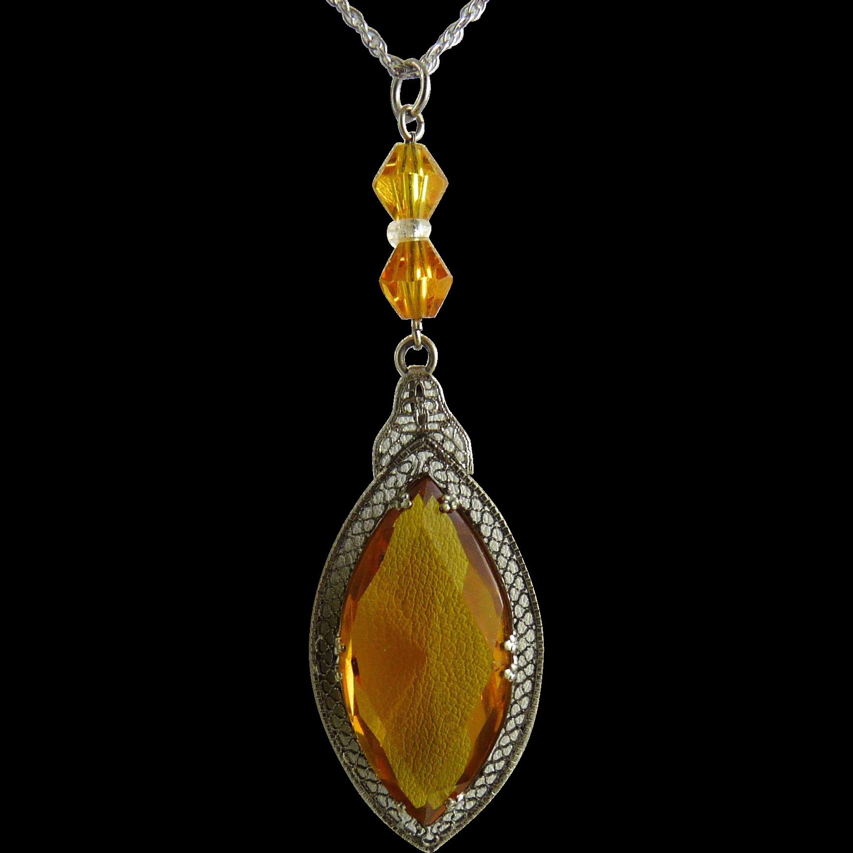 Vintage Art Deco Rhodium Filigree Pendant with Amber Glass Stone