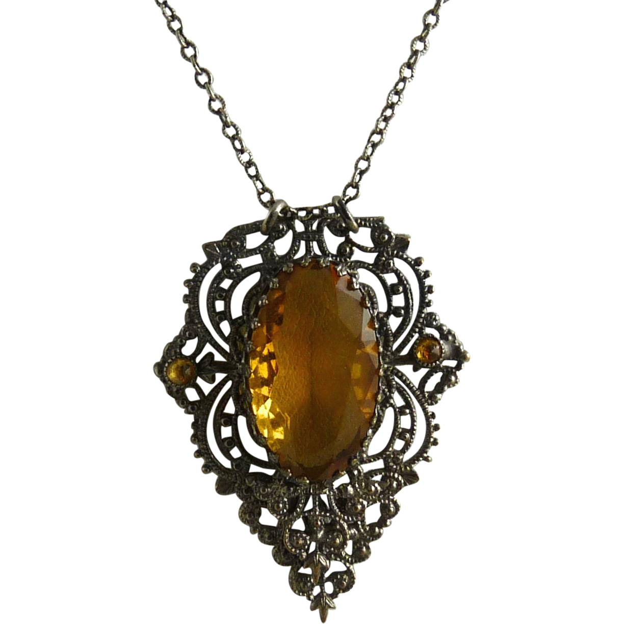 Vintage Art Deco Czech Glass Pendant Necklace Filigree Setting