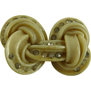 Vintage Art Deco Celluloid and Rhinestone Knot Pin