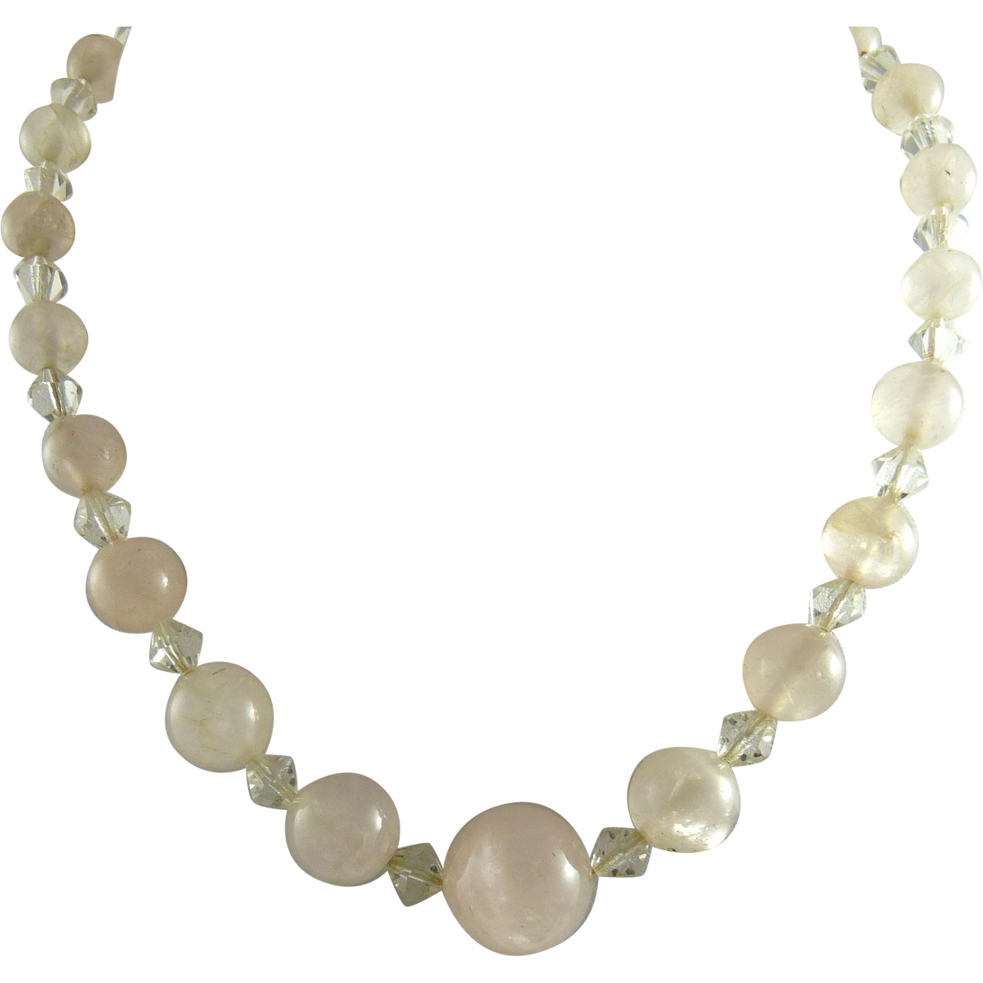 Vintage Rose Quartz Graduated Beads Necklace Art Deco