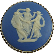 Vintage Jasperware Cameo Pin Sterling Frame