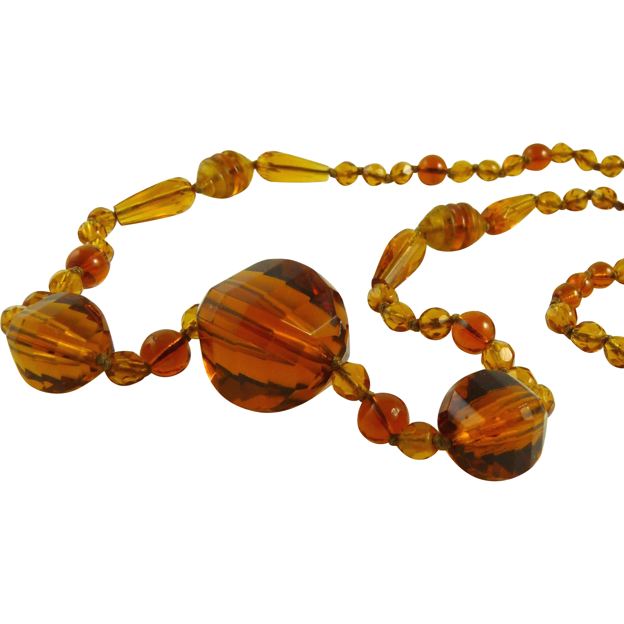 Vintage Glass Bead Flapper Necklace Art Deco