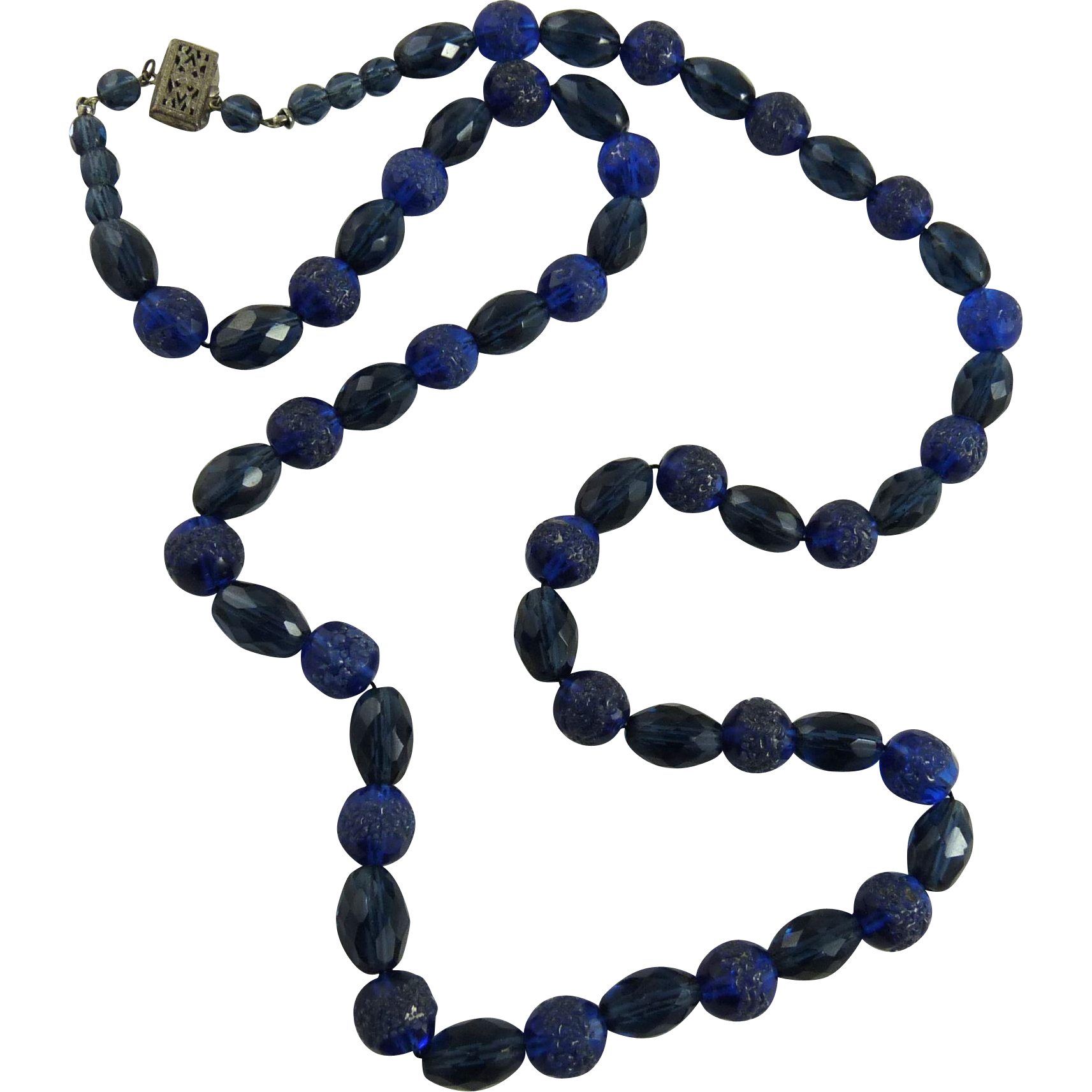 Vintage Art Deco Blue Glass Bead Necklace