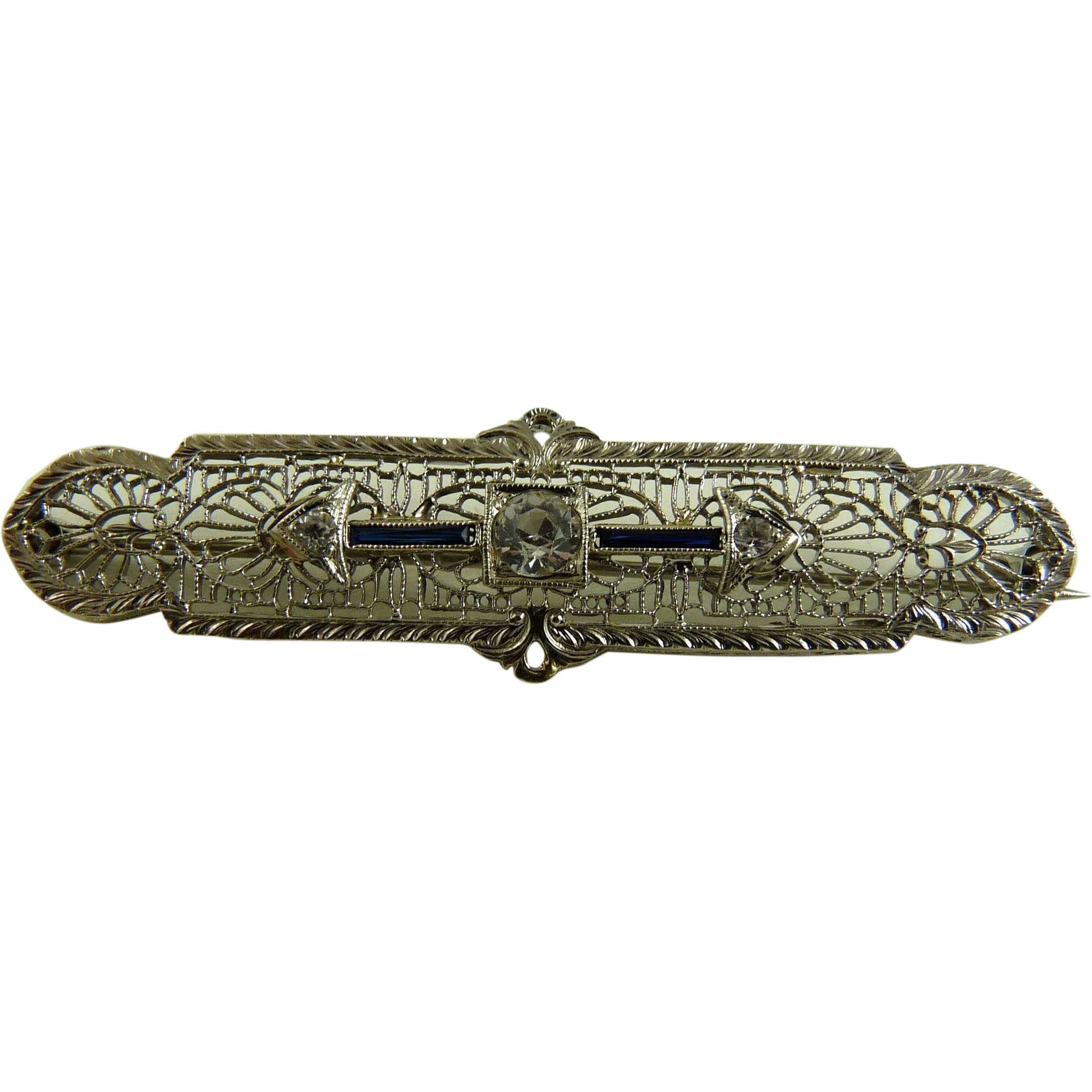 Vintage Art Deco Filigree Bar Pin 10K White Gold