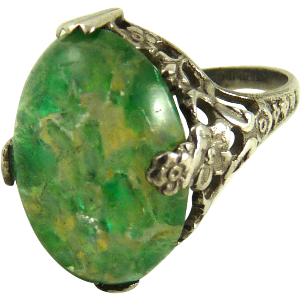 Antique Art Nouveau Ring Sterling Silver Czech Glass From