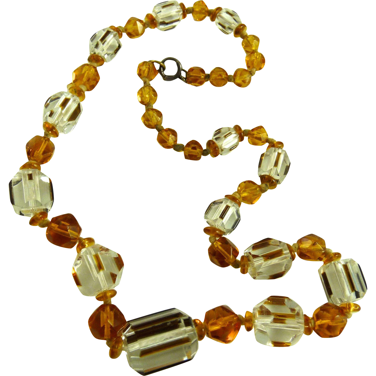 Vintage Art Deco Czech Glass Bead Necklace Amber and Clear