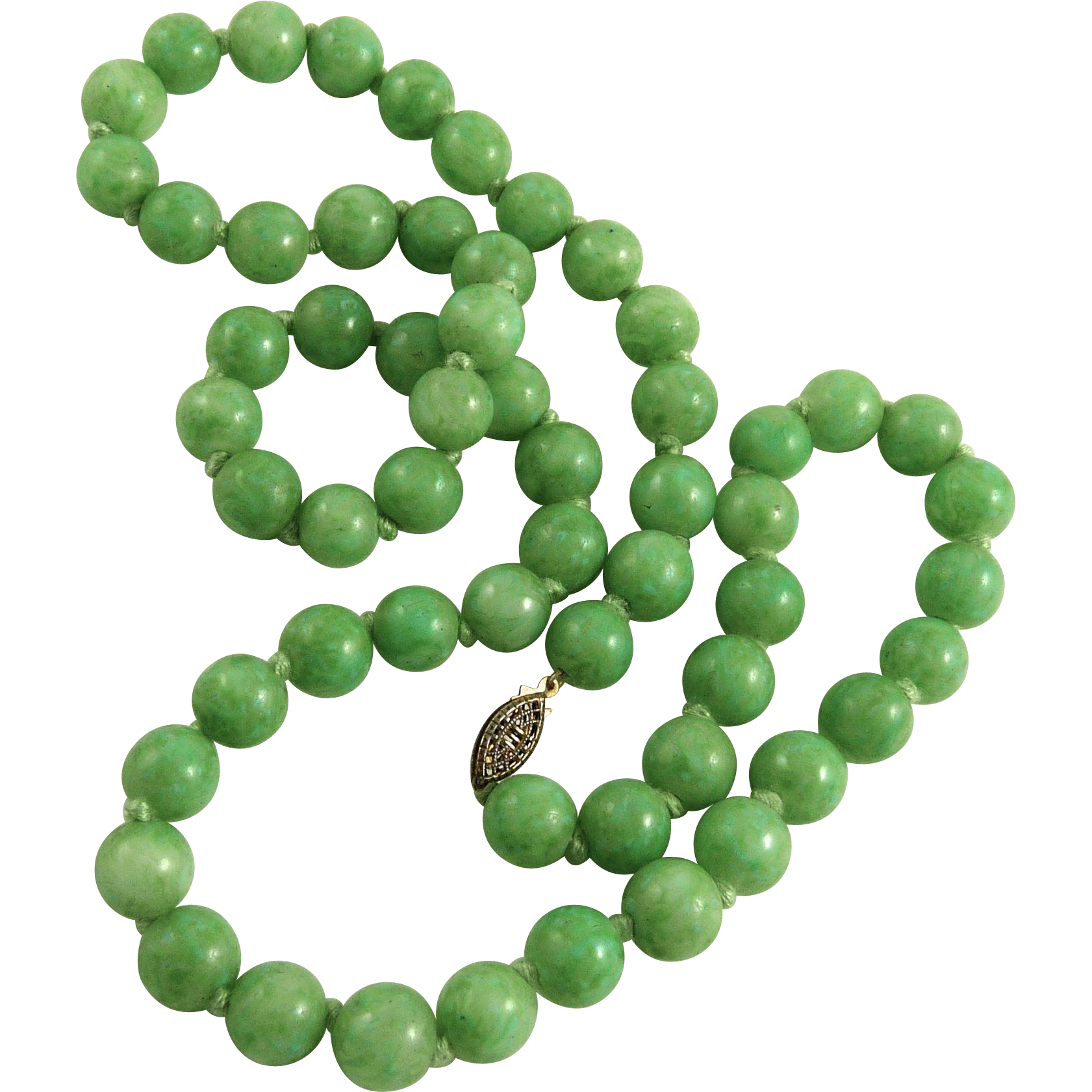 Vintage Hand Knotted Faux Jade Glass Bead Necklace