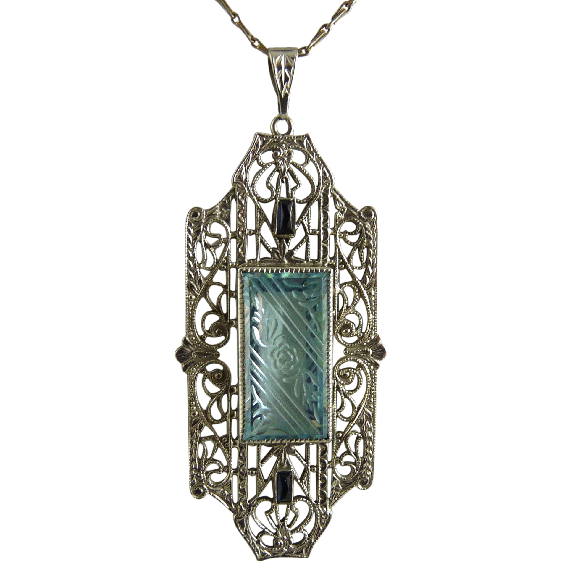 Vintage Art Deco Sterling Filigree Pendant Marked KP