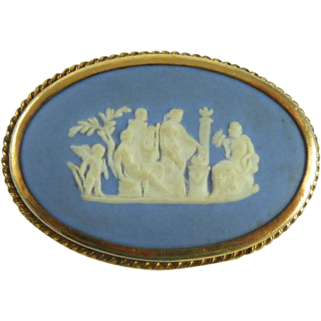 Vintage Wedgwood Jasperware Pin Blue