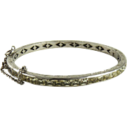 Vintage Art Deco Sterling Silver Paste Channel Set Bangle Bracelet Rhodium Finish