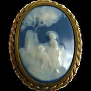 Vintage Pate sur Pate Brooch Shepherdess