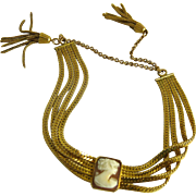 Vintage Gold Filled Shell Cameo Bracelet with Tassels
