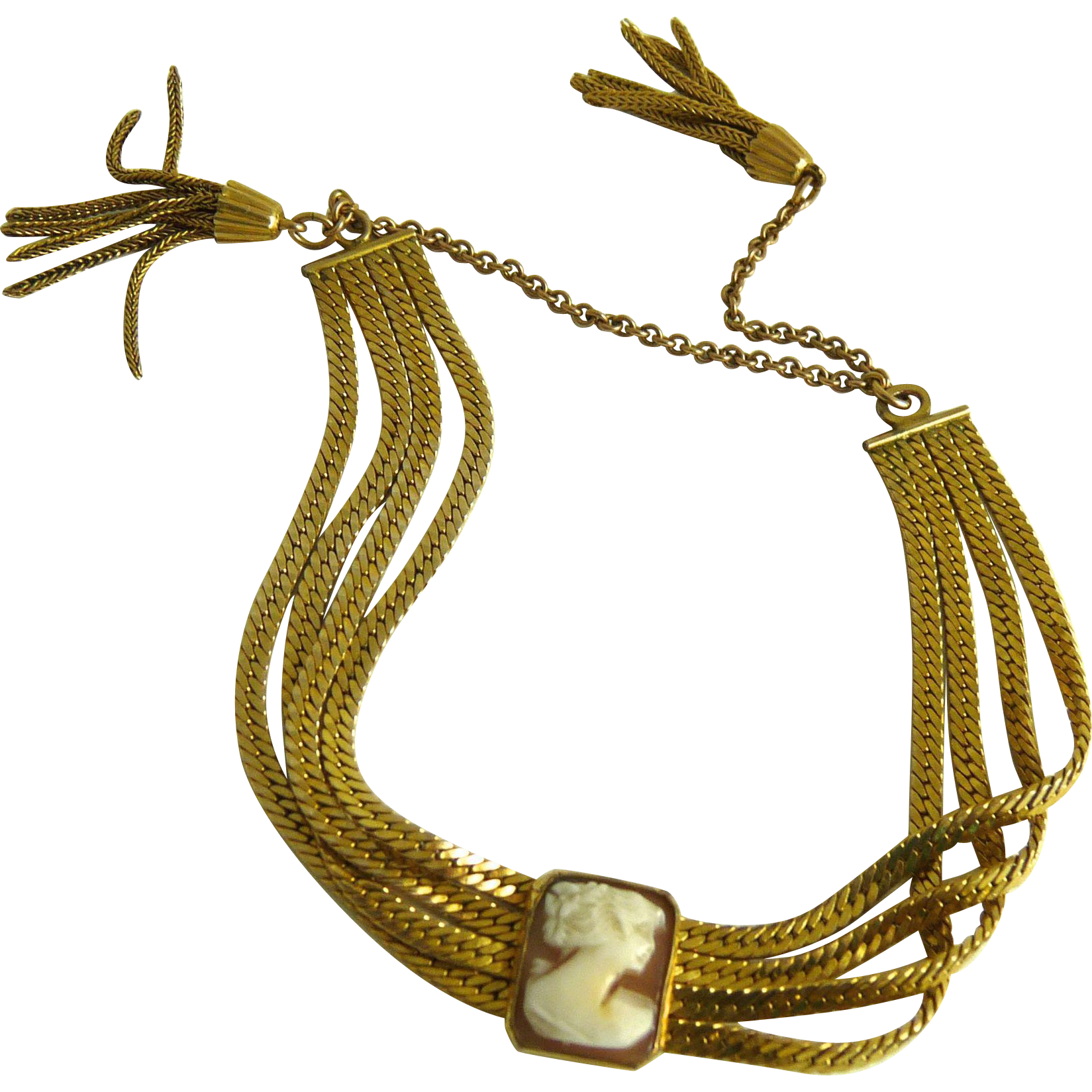 Vintage Gold Filled Shell Cameo Bracelet with Tassels