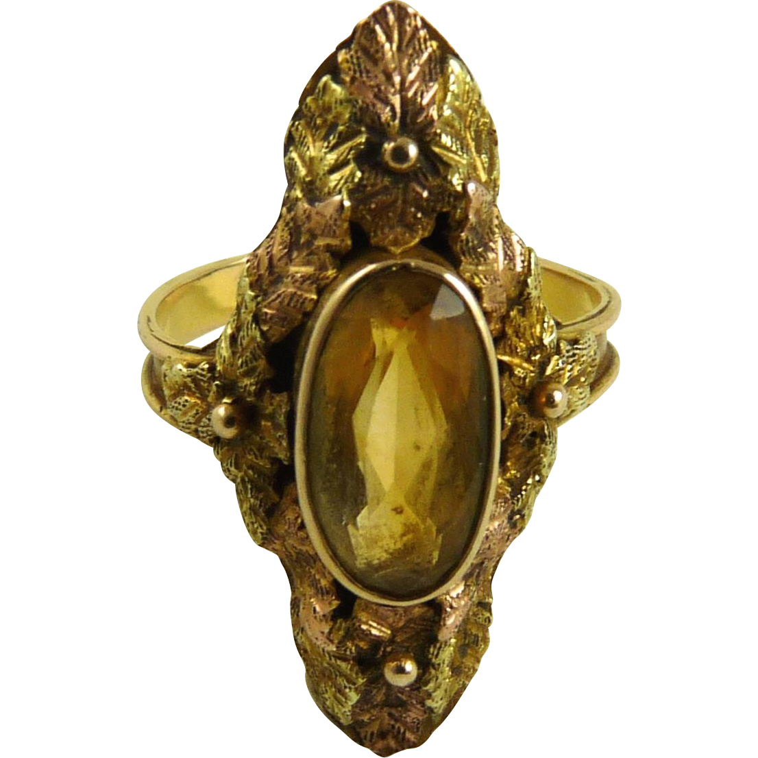 vintage tri color gold citrine ring 14k from ornaments on