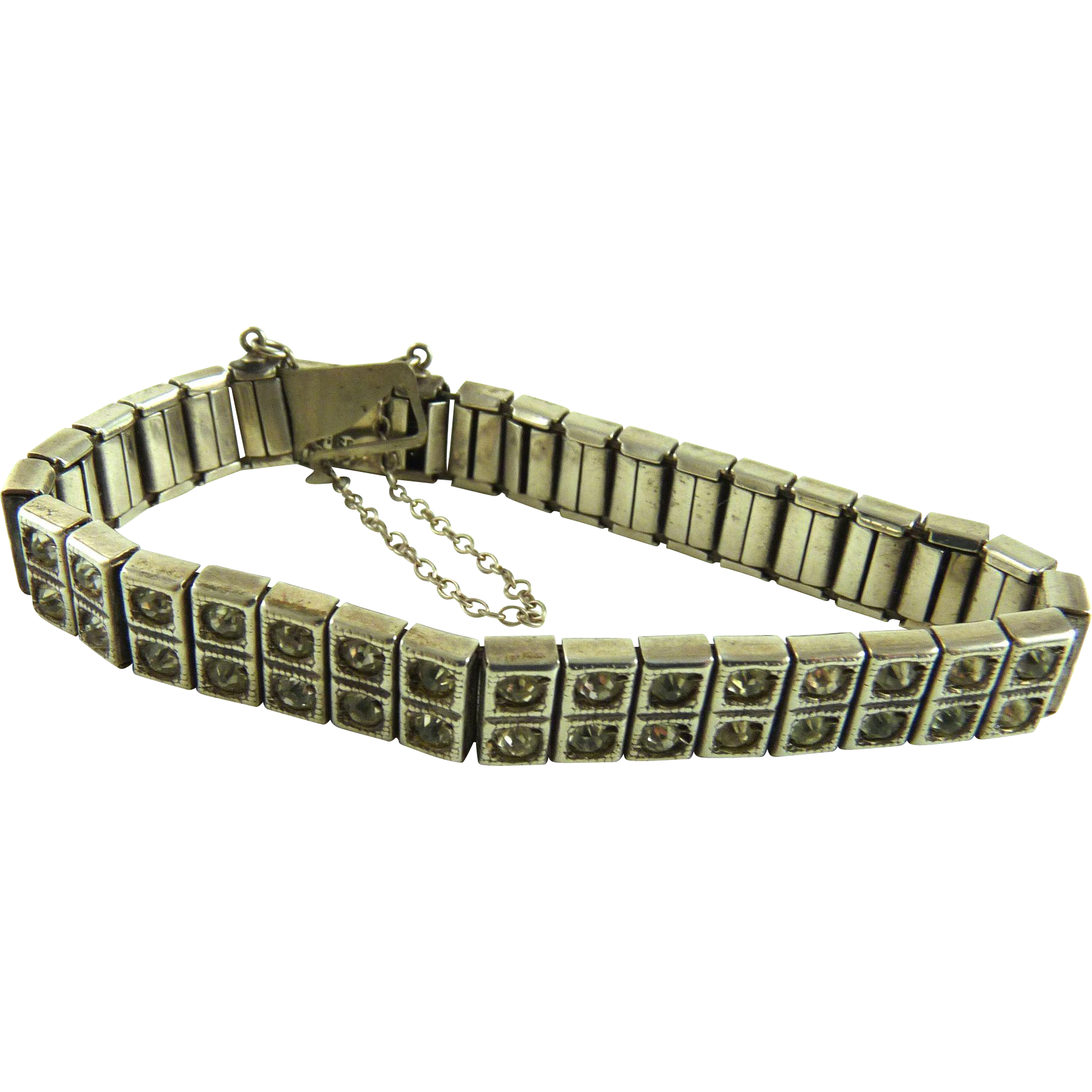 Vintage Art Deco Sterling Paste Rhinestone Bracelet