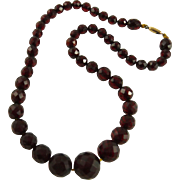 Vintage Cherry Amber Bakelite Bead Necklace Faceted Graduated