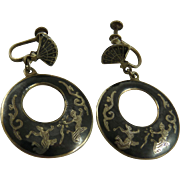 Vintage Siam Sterling Silver Drop Earrings