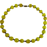 Vintage Murano Glass Bead Necklace Yellow