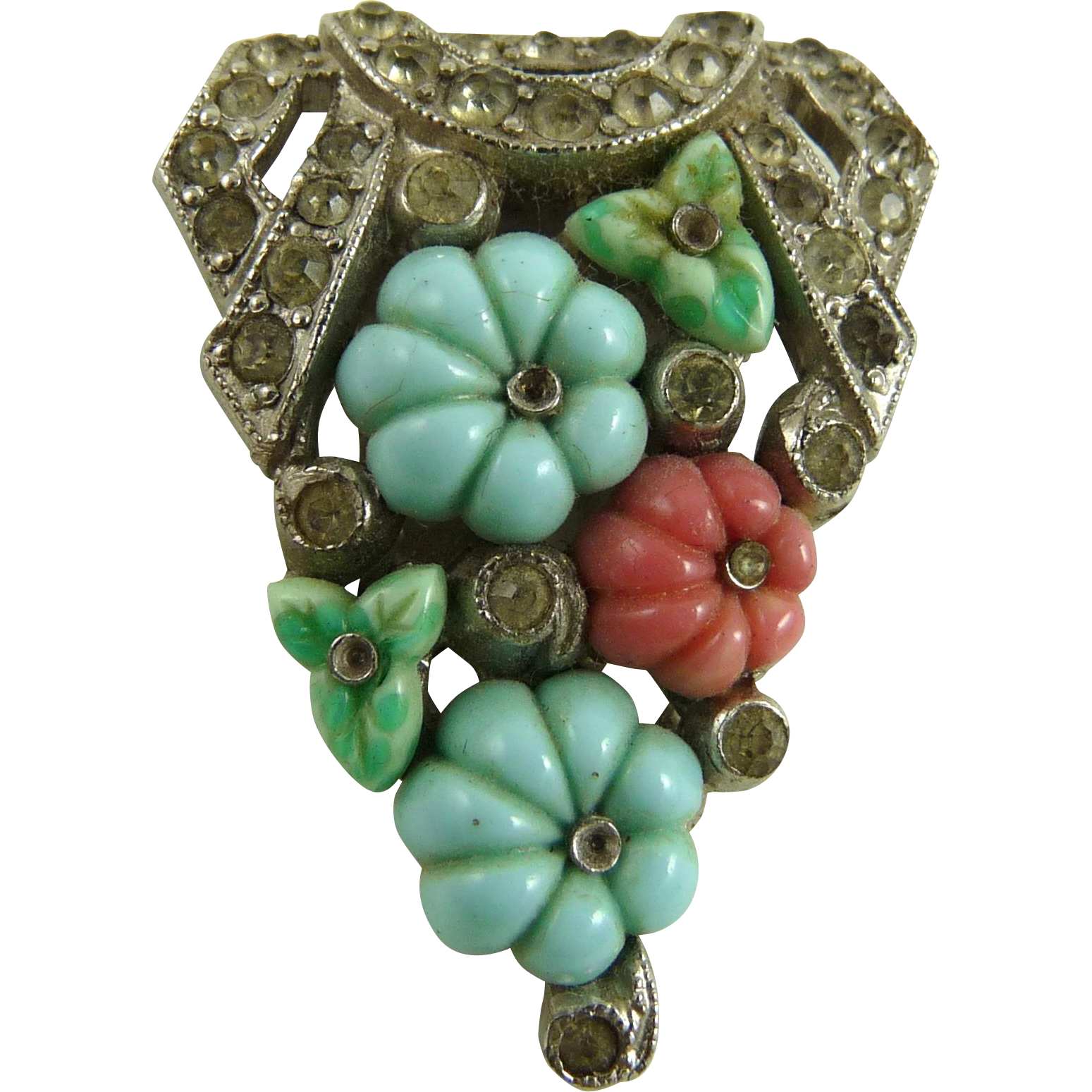 Vintage Signed Trifari Dress Clip Fruit Salad