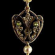 Antique Art Nouveau Pendant Lavalier 9K Gold Pearls Peridot