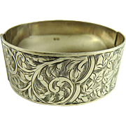 Antique Edwardian Sterling Silver Cuff Bracelet