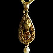 Antique Edwardian 10K Gold Pearl Diamond Lavalier Pendant