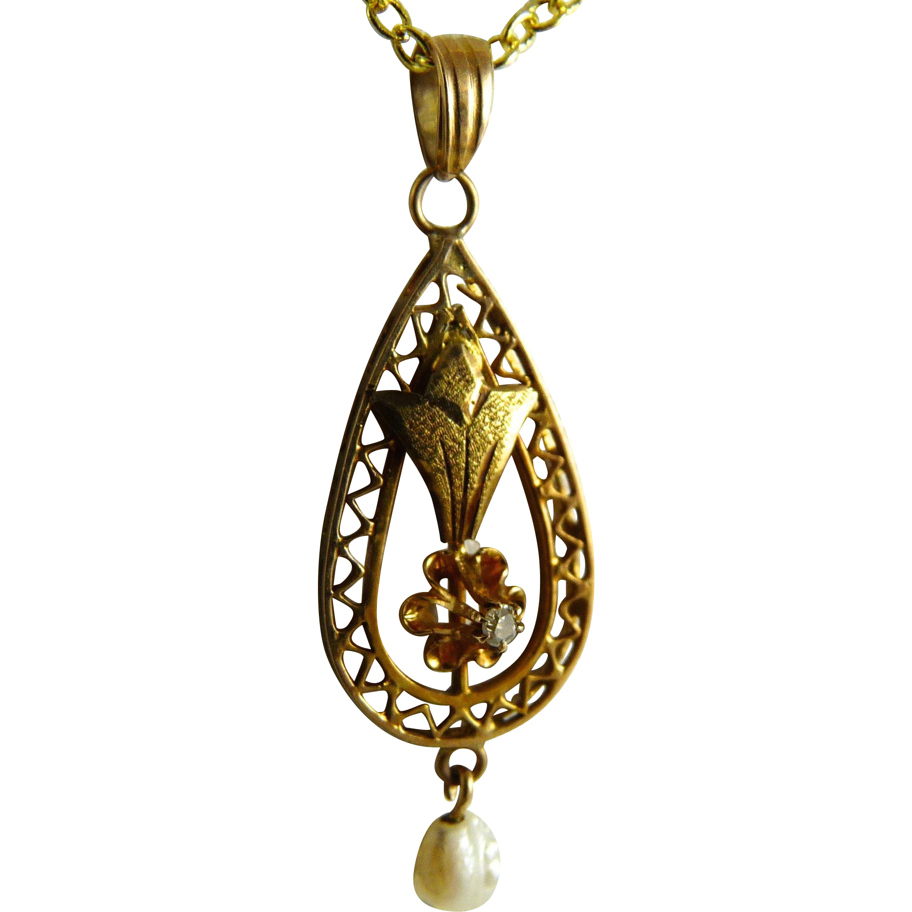 Antique Edwardian 10K Gold Pearl Diamond Lavalier Pendant