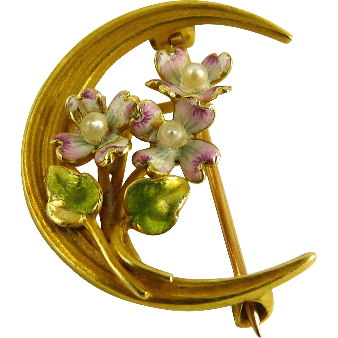 Antique Art Nouveau Krementz Crescent Pin