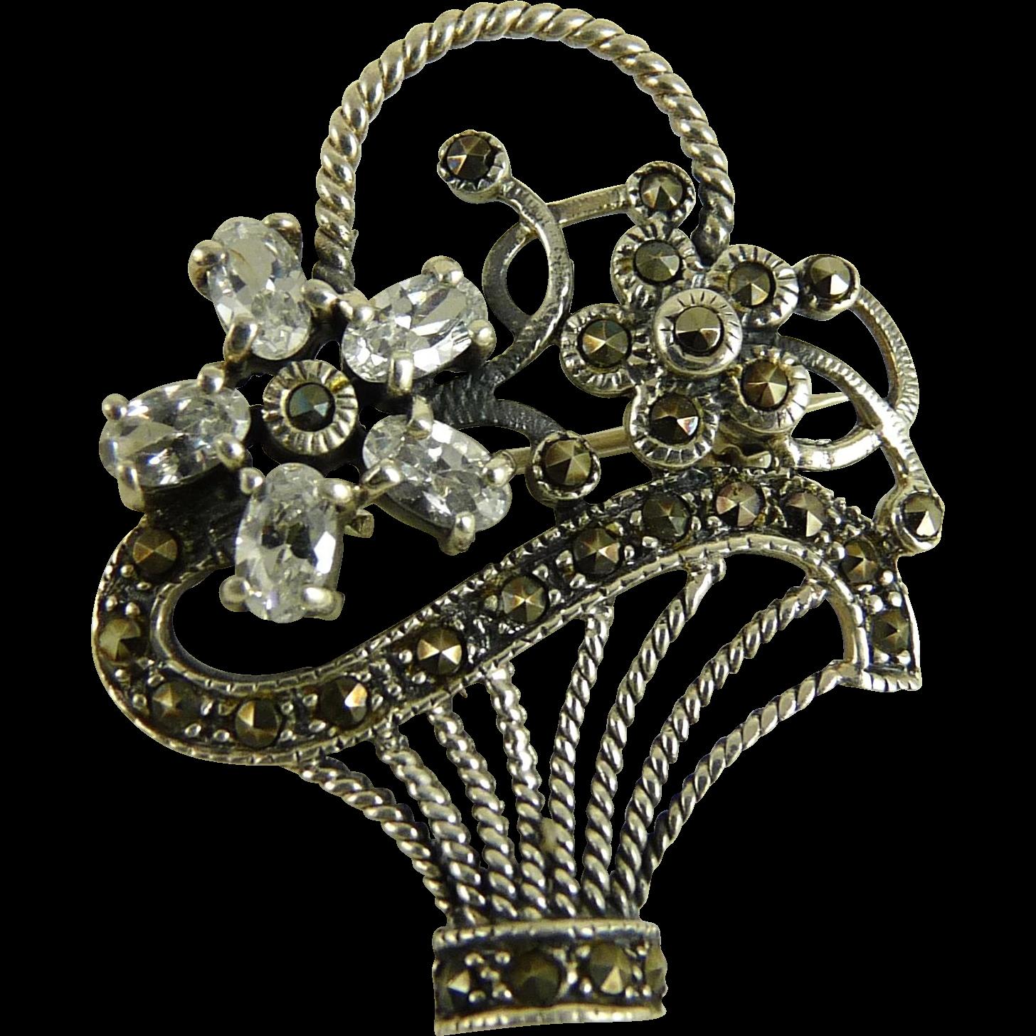 Vintage Sterling Silver Marcasite Flower Basket Pin