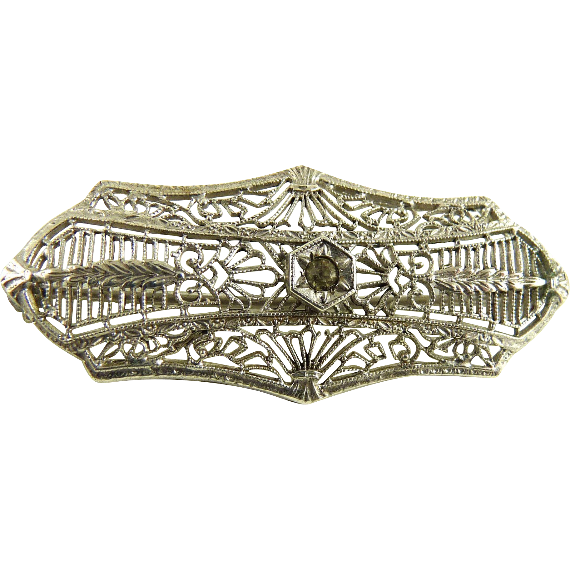 Vintage Sterling Filigree Bar Pin Rhodium Finish