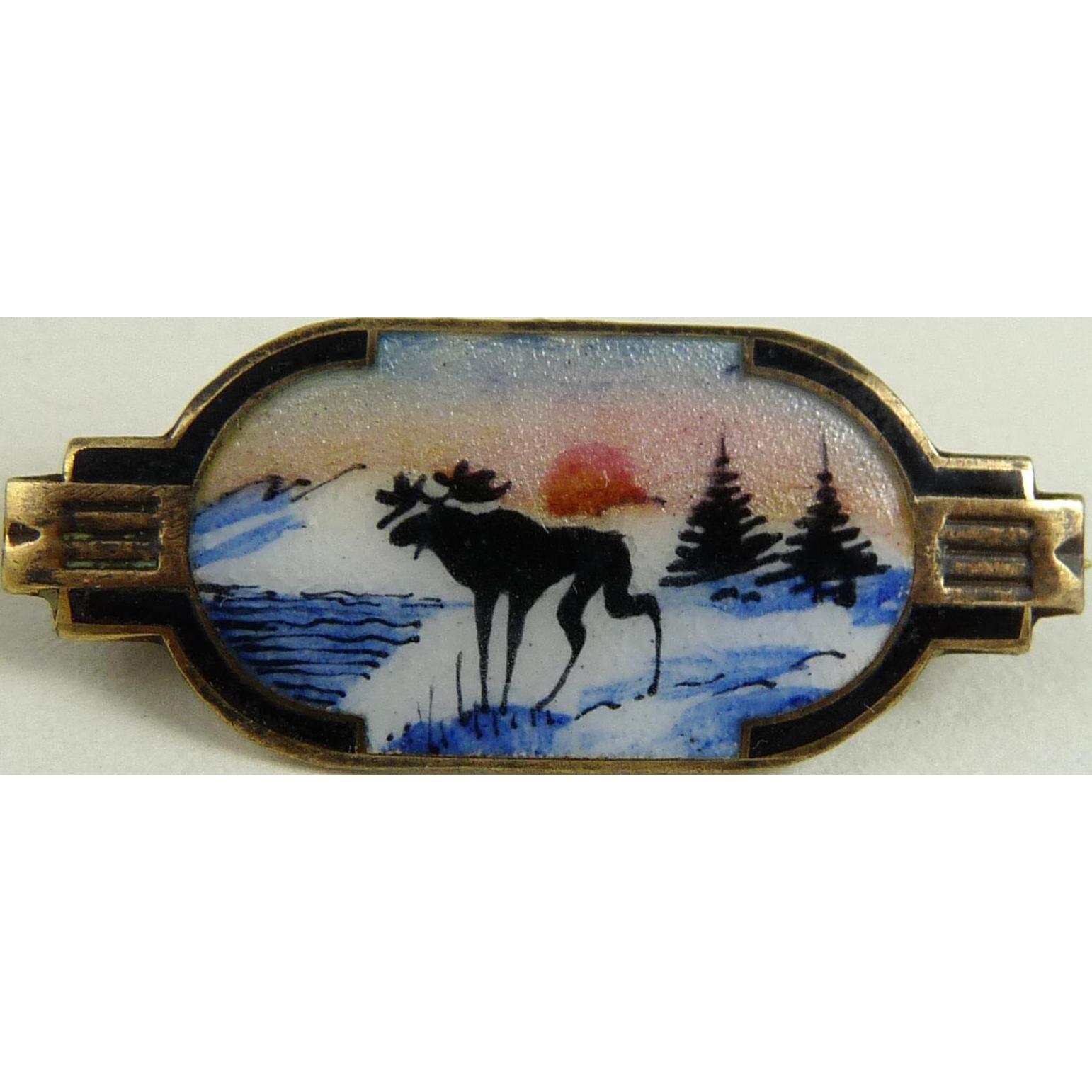 Vintage Sterling Enamel Scenic Pin Aksel Holmsen